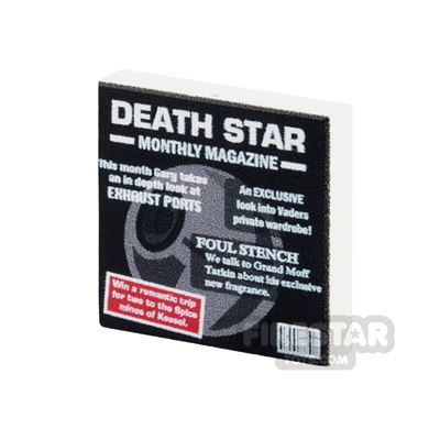 LEGO Custom Printed Tile 2x2: Death Star Monthly Magazine