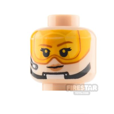 LEGO Custom Minifigure Heads: Pilot Orange Visor Female