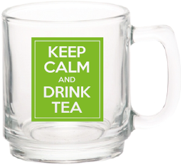 Glass Tea Mug - Keep Calm and Drink Tea
