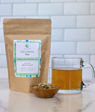 Feel Better Wellness Green Tea Blend - Loose Leaf - with Gunpowder Green Tea, Echinacea, Elderberry, Lemon Grass, Linden Leaves and Flowers, Lemon Verbena, Lemon Peel and Natural Lemon Flavor.
