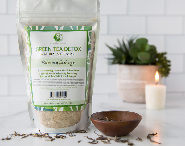 Green Tea Detox Infusion - Bath Sea Salt Mix - Rejuvenating Antioxidant