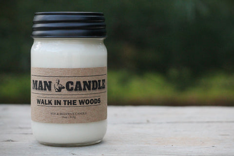 Man Candle - Best Soy/Beeswax Candle - 11 Oz Large Candle - Walk in the Woods Sent