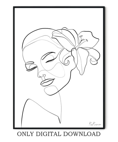 Female face line drawing