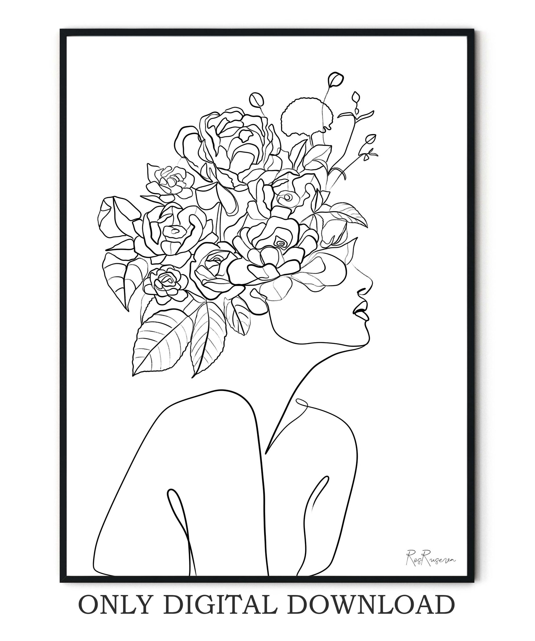 Head Of Flowers line art