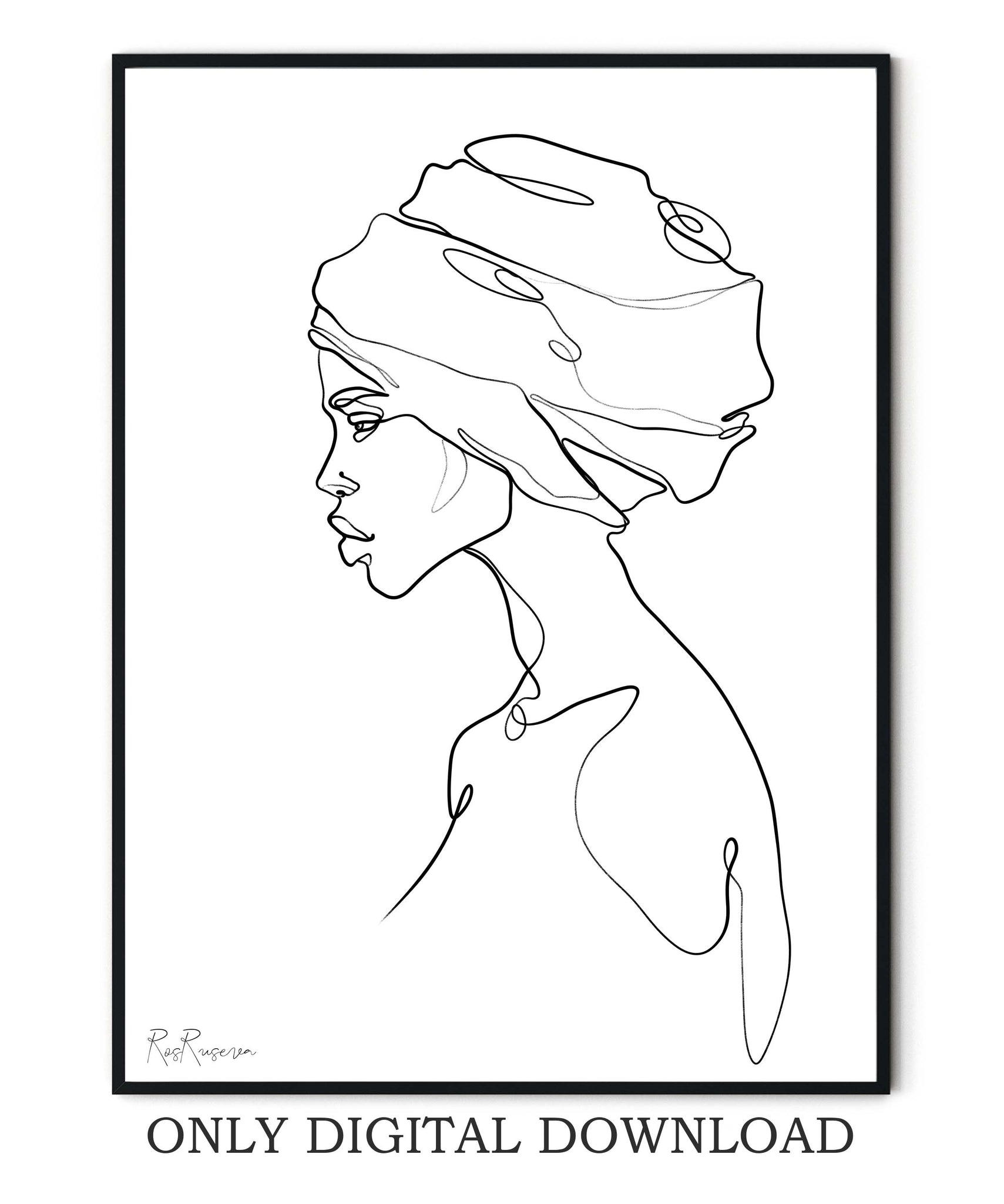 Black Woman Line Art