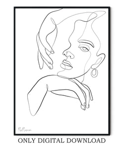 Abstract Face one line drawing