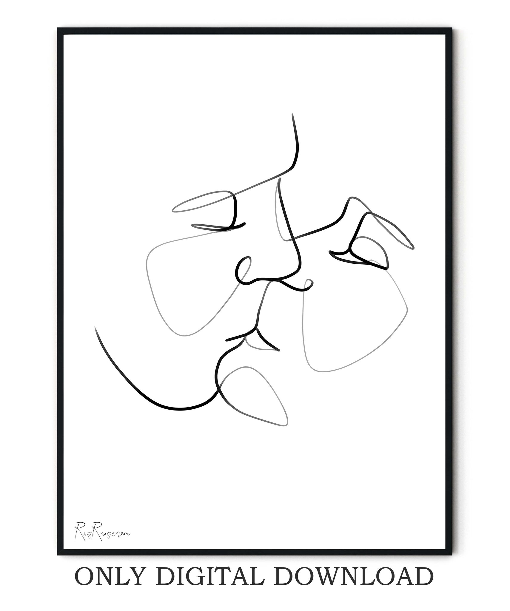 Couple Kiss One line art