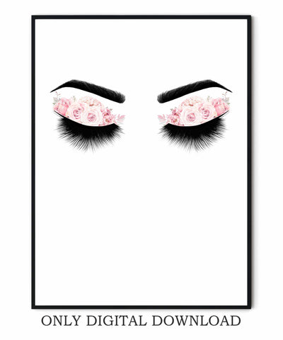 Eyelashes Sketch Makeup Print