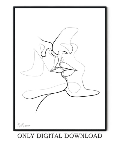 Couple Kiss One Line Drawing