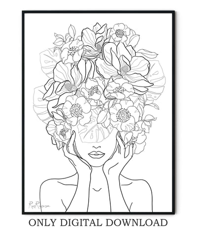 Flowers Woman Line Art