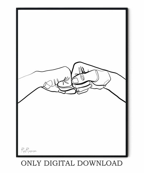 Fist Bump Line Drawing