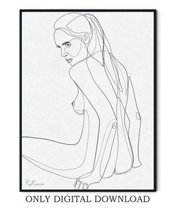 Nude body line drawing
