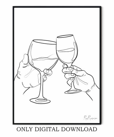 Clink Glass of Wine art