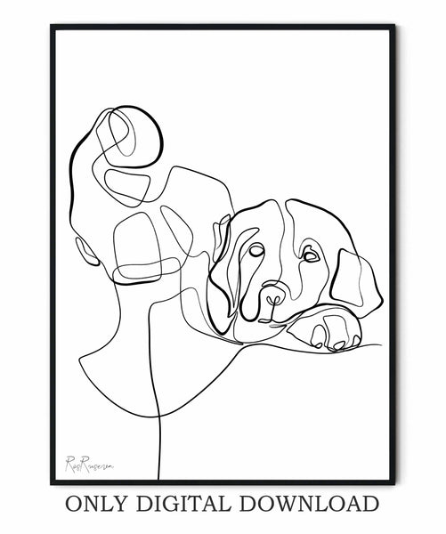 Dog one line drawing