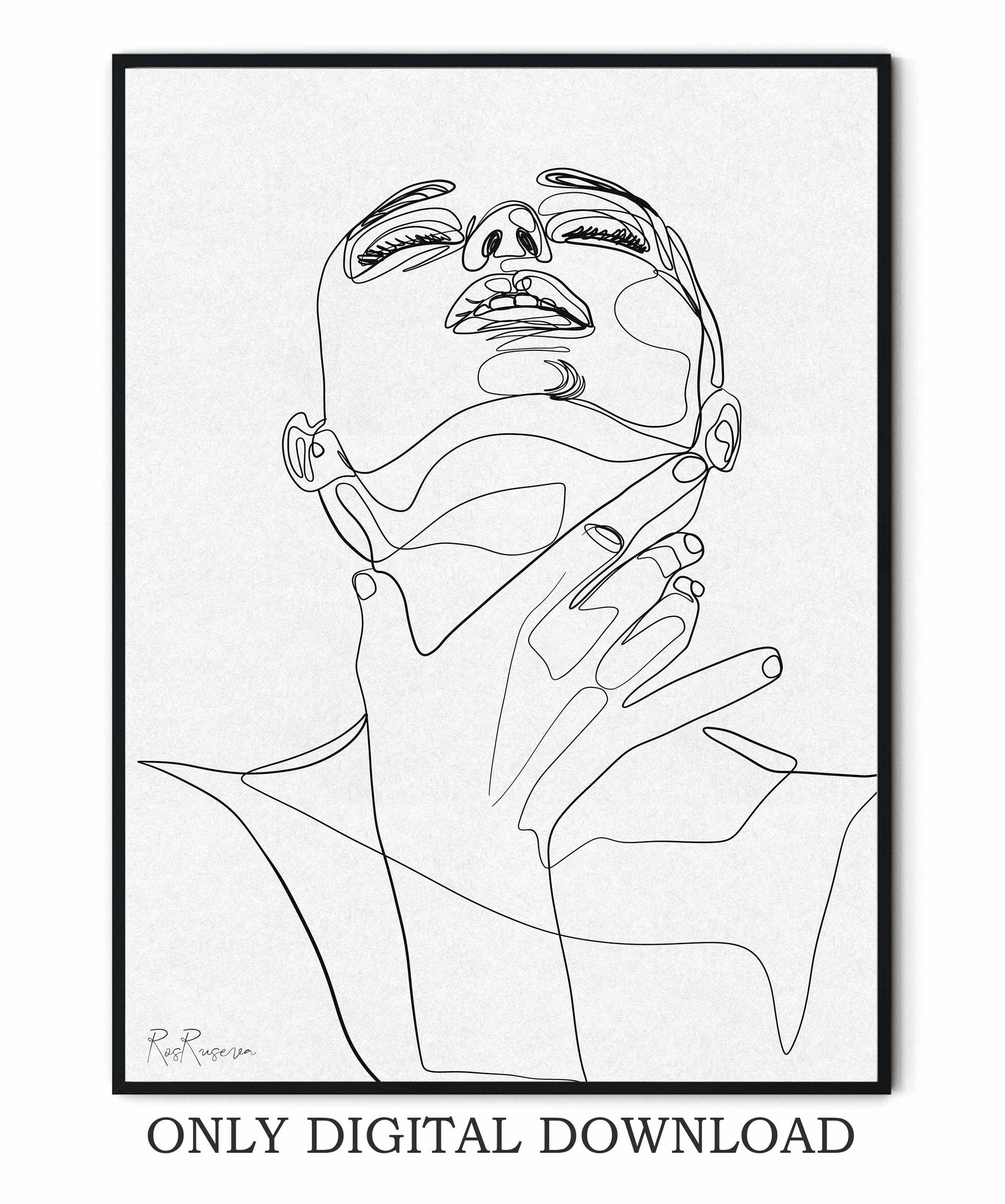 Female Face One line drawing