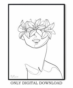Flowers Woman Drawing