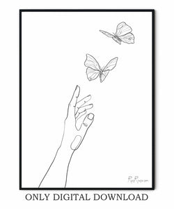 Hand And Butterflies line art