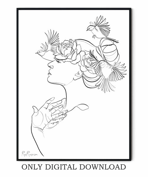 Woman one line drawing