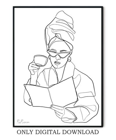 Morning Coffee Line Art