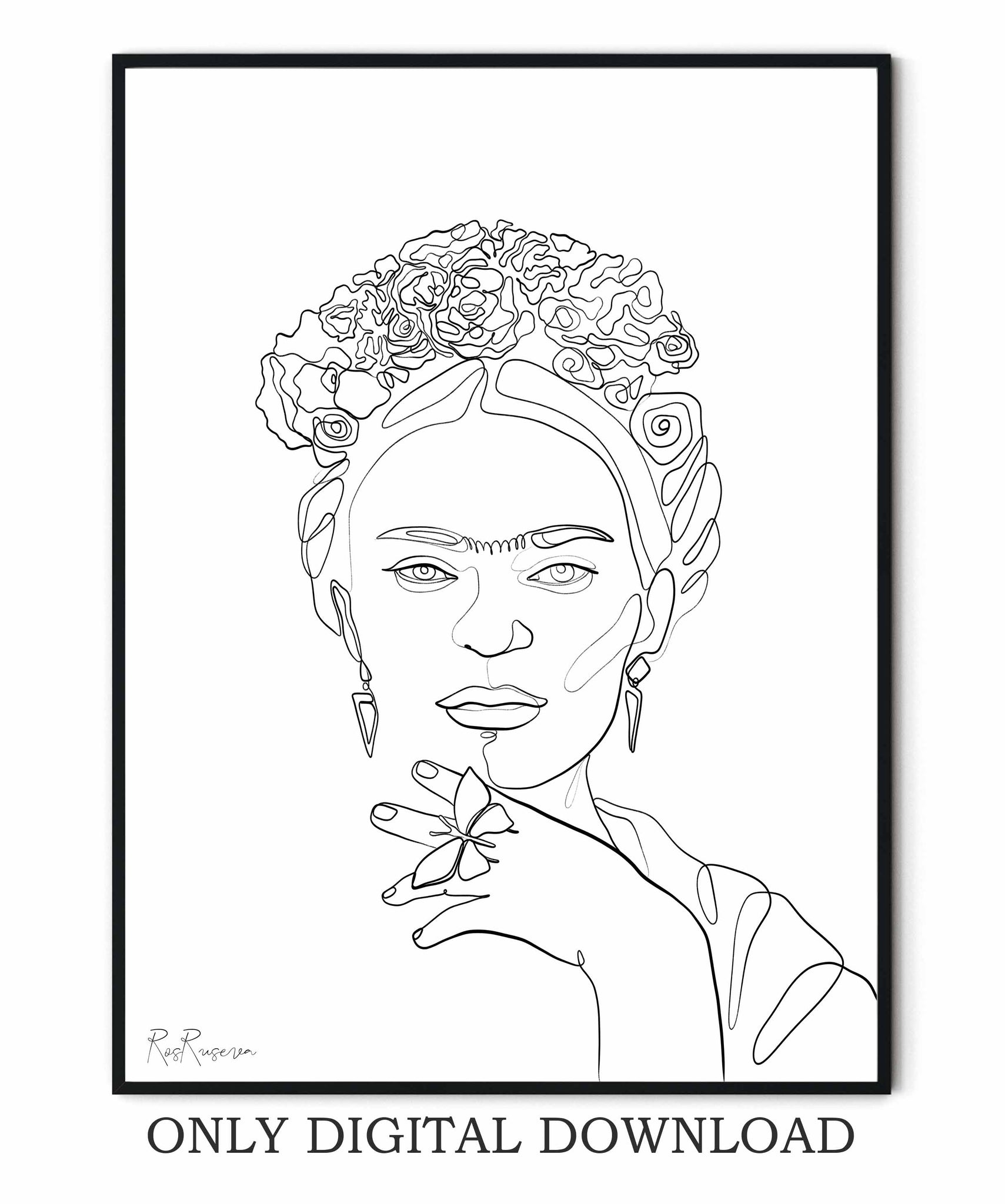 Frida Kahlo One line drawing