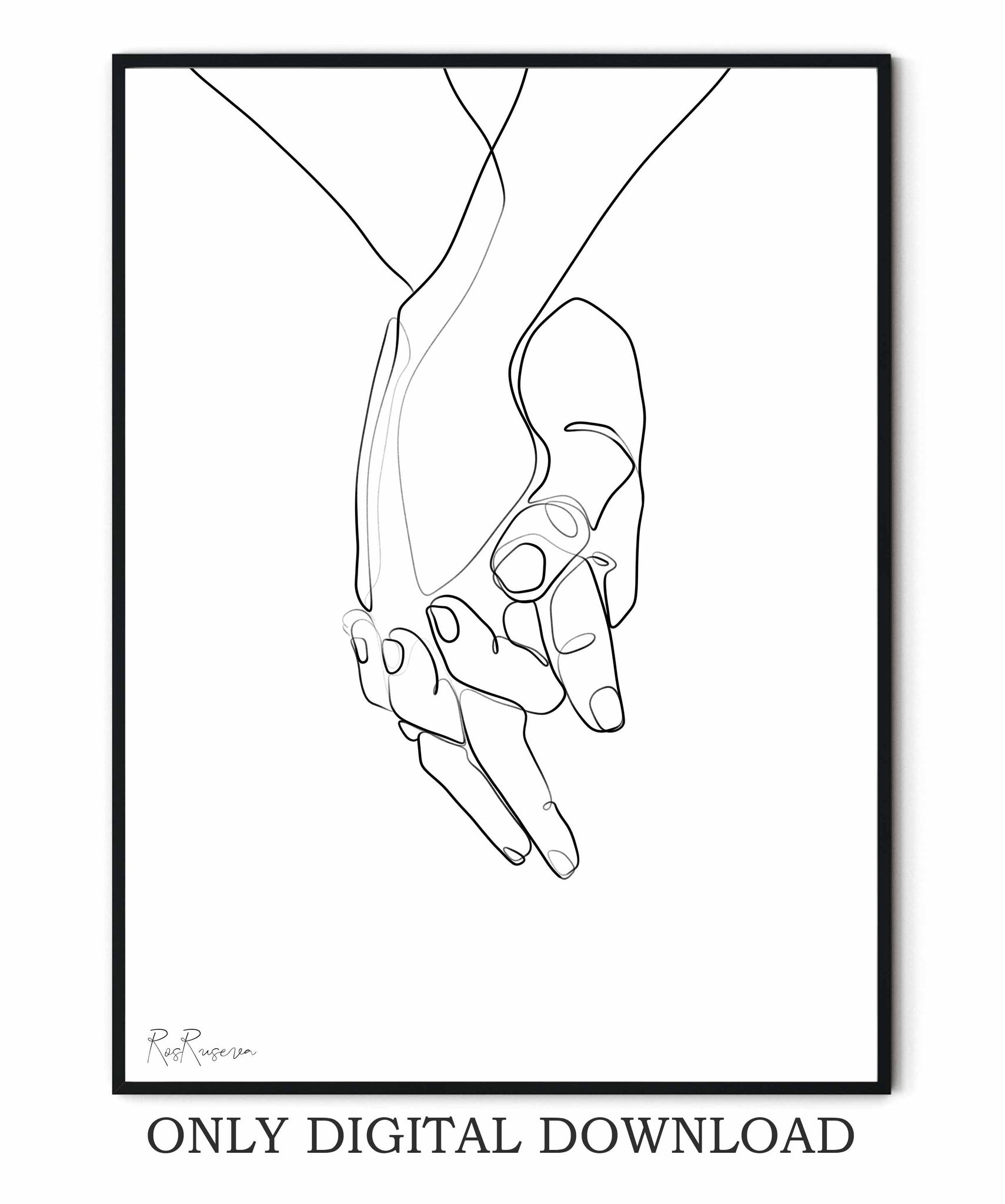 Holding Hands Line Art
