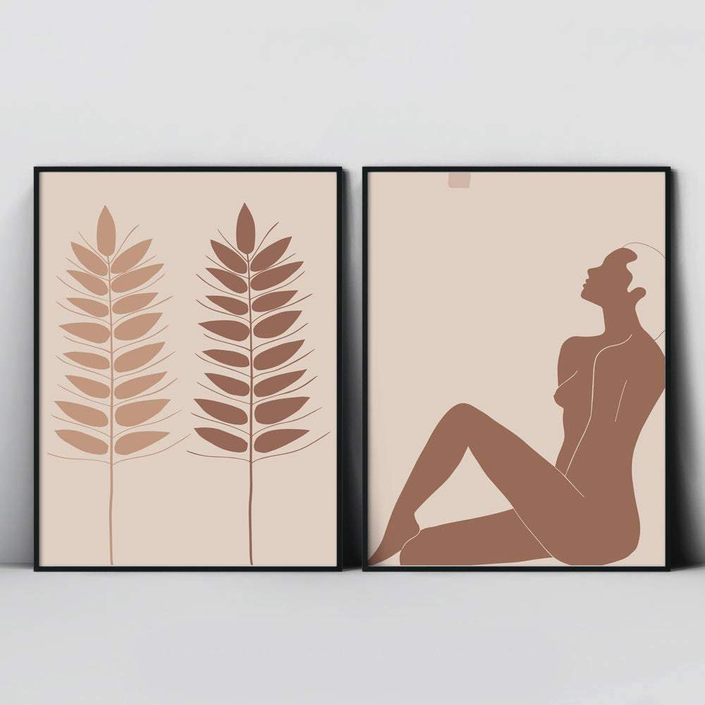 Pastel Abstract Art Abstract Line Art, Simple Abstract Art, Modern Minimal Art, Nude Woman Art, Set of 2 Prints - Ros Ruseva