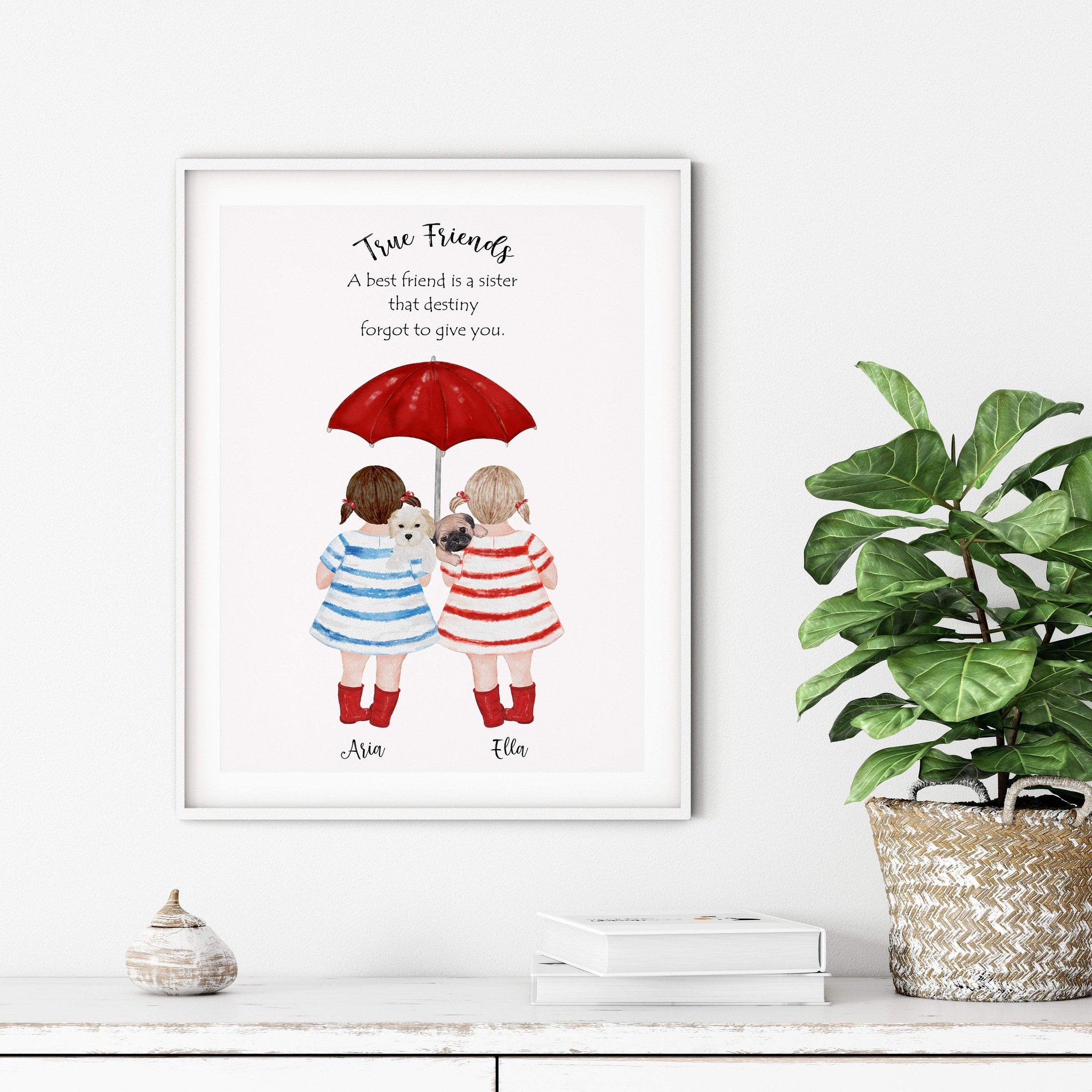 Friendship Print, Friendship Quotes, Gift for best friend, Mindfulness Gift, Best Friend Birthday, Kids Friendship Gift, Best Friend Gift - Ros Ruseva