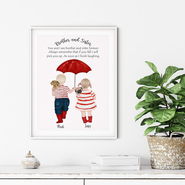 Brother Sister Gift, Brother Quotes, Brother and Sister Gift Print, Unique Gift, Brother Birthday, Sister Birthday - Ros Ruseva