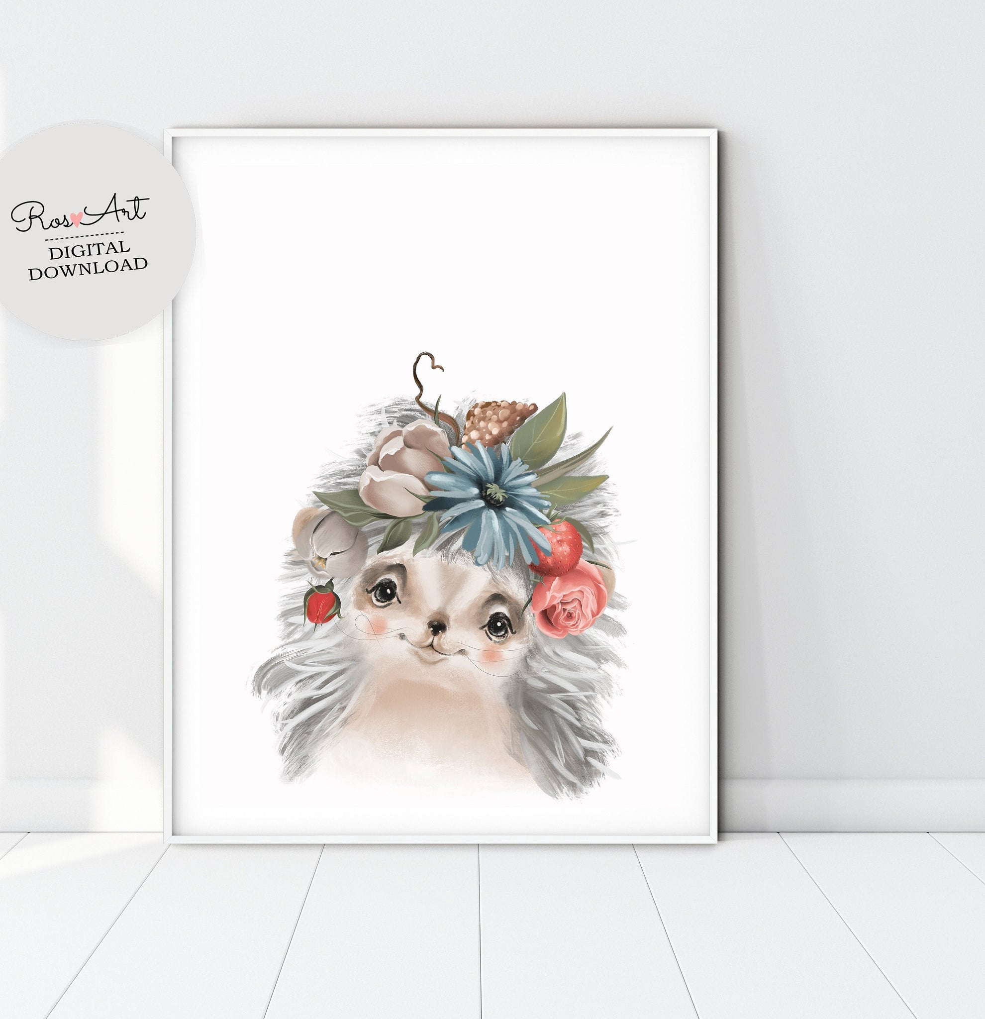 Hedgehog Print Hedgehog Art Print, Hedgehog Wall Art, Hedgehog Portrait, Hedgehog Art, Baby Girl Poster - Ros Ruseva