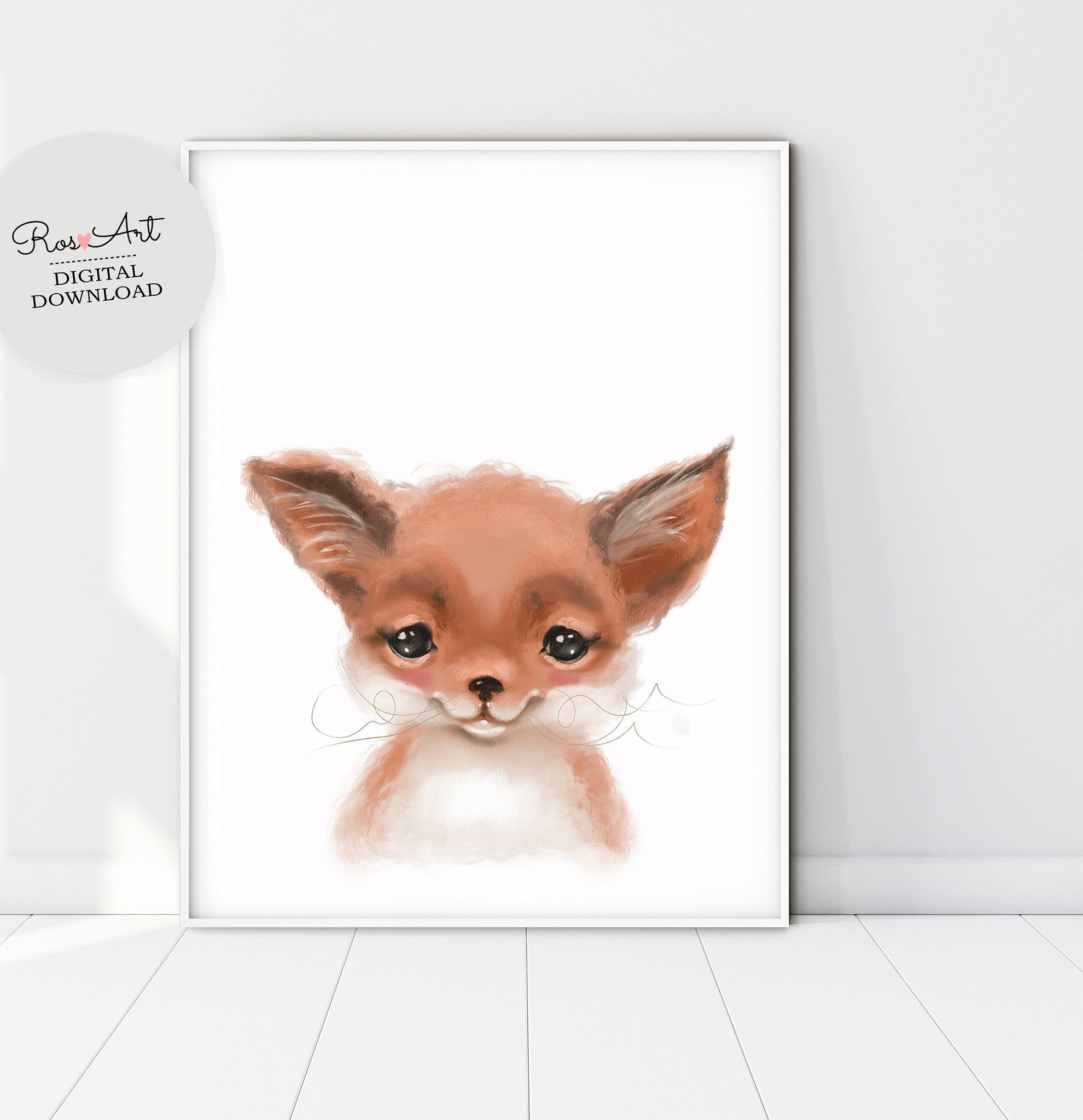 Fox Art Print Fox Prints, Baby BOY Poster, Fox Portrait, Fox Nursery Decor, Fox Nursery Art