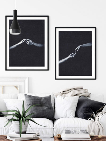 Holding Hands Print, Romantic Wall Art, Set of 2 Prints, Simple Abstract Art, Modern Minimal Art, Black and White Watercolor Print - Ros Ruseva