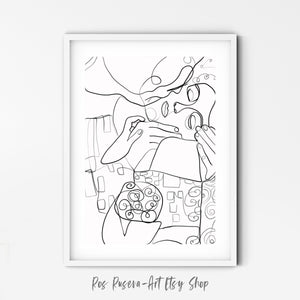 The Kiss One Line Art, One Line Drawing, Abstract Line Art, Minimalist Line Art, Single Line Art, One Line Print