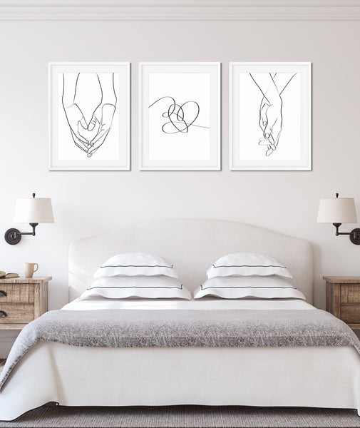 Holding Hands Print One Line Art, One Line Drawing, Set of 3 Prints, Romantic Poster, Single Line Art, Minimal Line Art, Couple Print