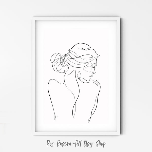 Woman Back Print Female Body Art, One Line Drawing, One Line Art, Female Nude Art, Single Line Art, Minimal Line Art, Female Figure Art