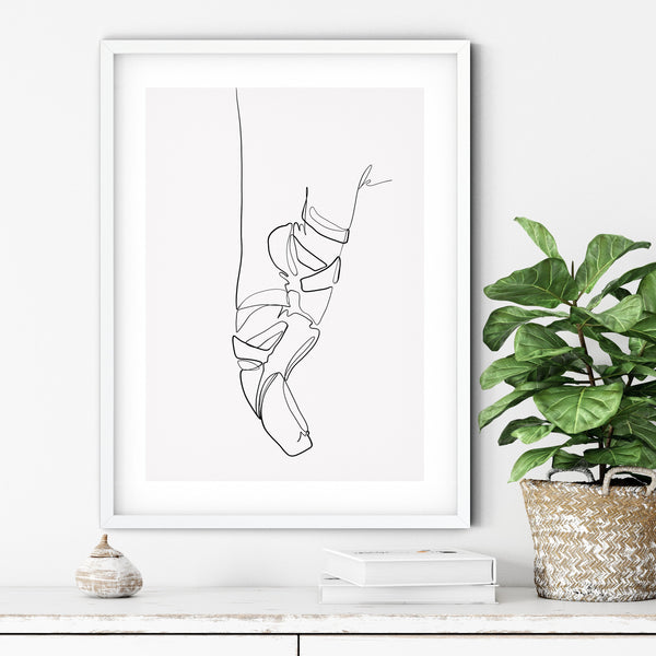 Ballet Shoes One Line Art, Fashion Illustration One Line Drawing, Single Line Art, Minimal Line Art, Ballerina Shoes Line Art Poster - Ros Ruseva
