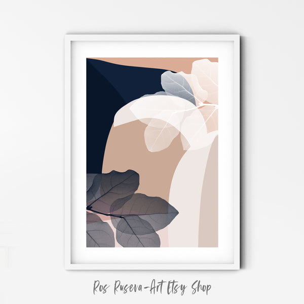 Plant Prints Pastel Abstract Art, Above Bed Wall Art, Modern Minimal Art, Tropical Wall Art, Leaf Poster, Beige and Blue - Ros Ruseva