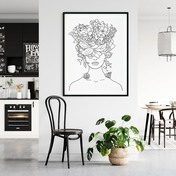 Head Of Flowers Art Print, One Line Drawing, Female Line Art, Flower Line Art, One Line Art, Line Drawing Woman, Single Line Art