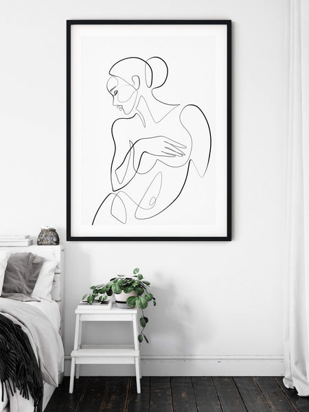 Erotic Art Print, One Line Drawing, Female Line Art, Above Bed Wall Art, One Line Art, Female Body Art, Single Line Art, Female Nude Art - Ros Ruseva