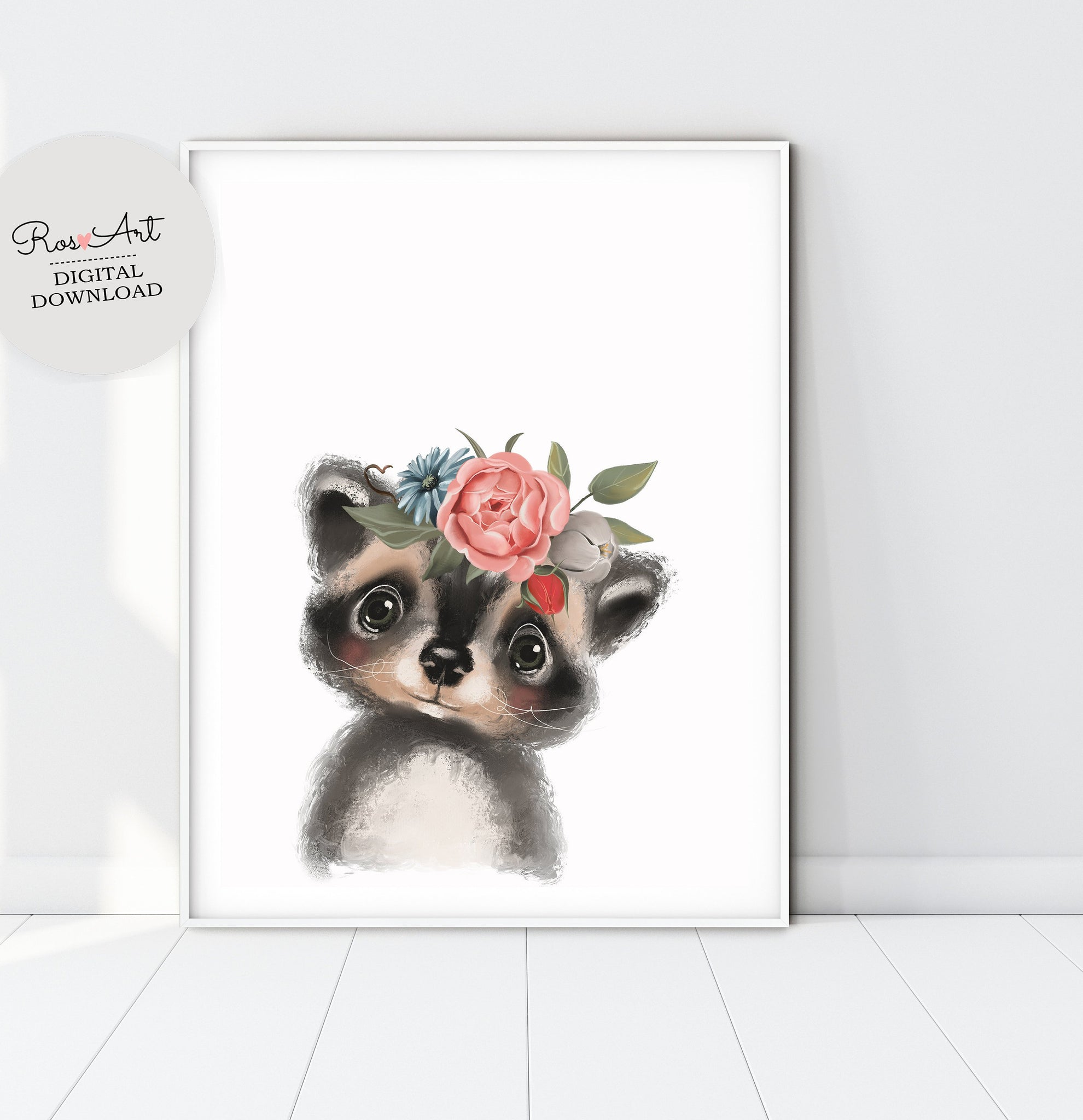 Raccoon Wall Art Raccoon Portrait, Rabbit Nursery Print, Raccoon Printable, Raccoon Print, Cute Raccoon - Ros Ruseva