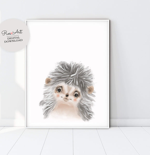 Hedgehog Print Hedgehog Art Print, Hedgehog Wall Art, Hedgehog Portrait, Hedgehog Art, Baby BOY Poster - Ros Ruseva
