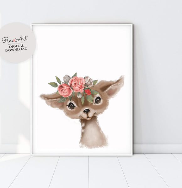 Deer Prints Deer Portrait, Deer Art Print, Deer Nursery Art, Baby Deer Art, Girl Room Prints - Ros Ruseva