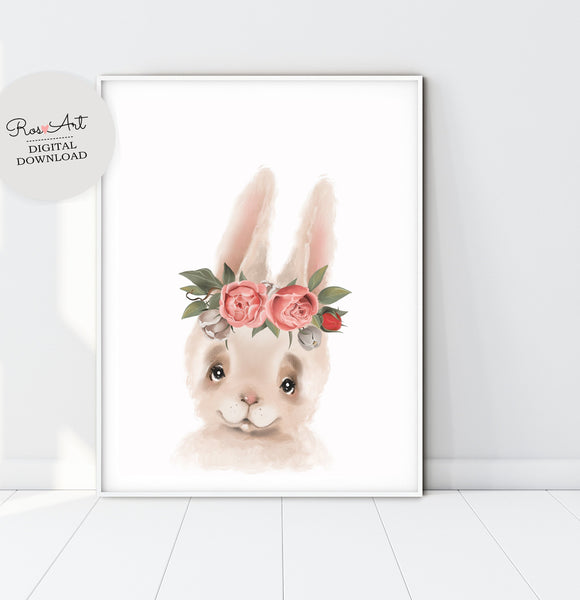 Rabbit Wall Art Bunny Prints, Hare Art, Rabbit Prints, Bunny Nursery Print, Baby Girl Poster - Ros Ruseva