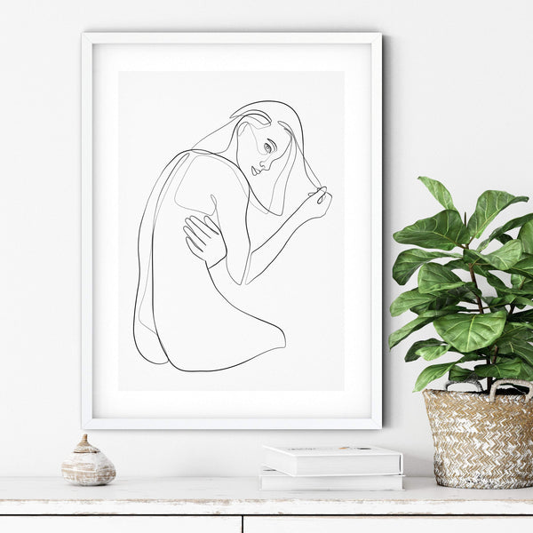 Female Nude Art, One Line Drawing, Erotic Art Print, Female Line Art, Above Bed Wall Art, One Line Art, Female Body Art, Single Line Art - Ros Ruseva