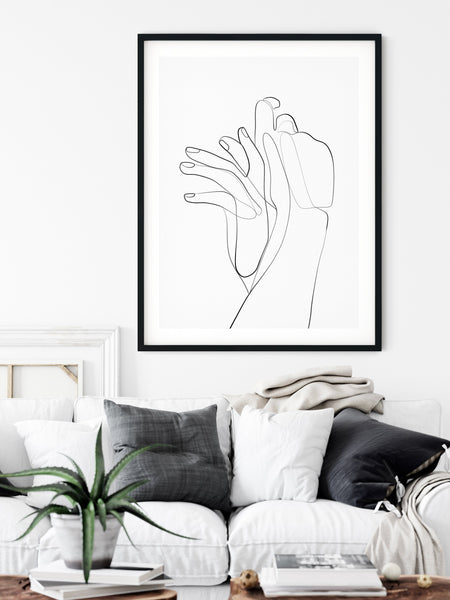 Holding Hands Print, One Line Art, One Line Drawing, Hands Art Print, Romantic Poster, Single Line Art, Minimal Line Art, Couple Print - Ros Ruseva