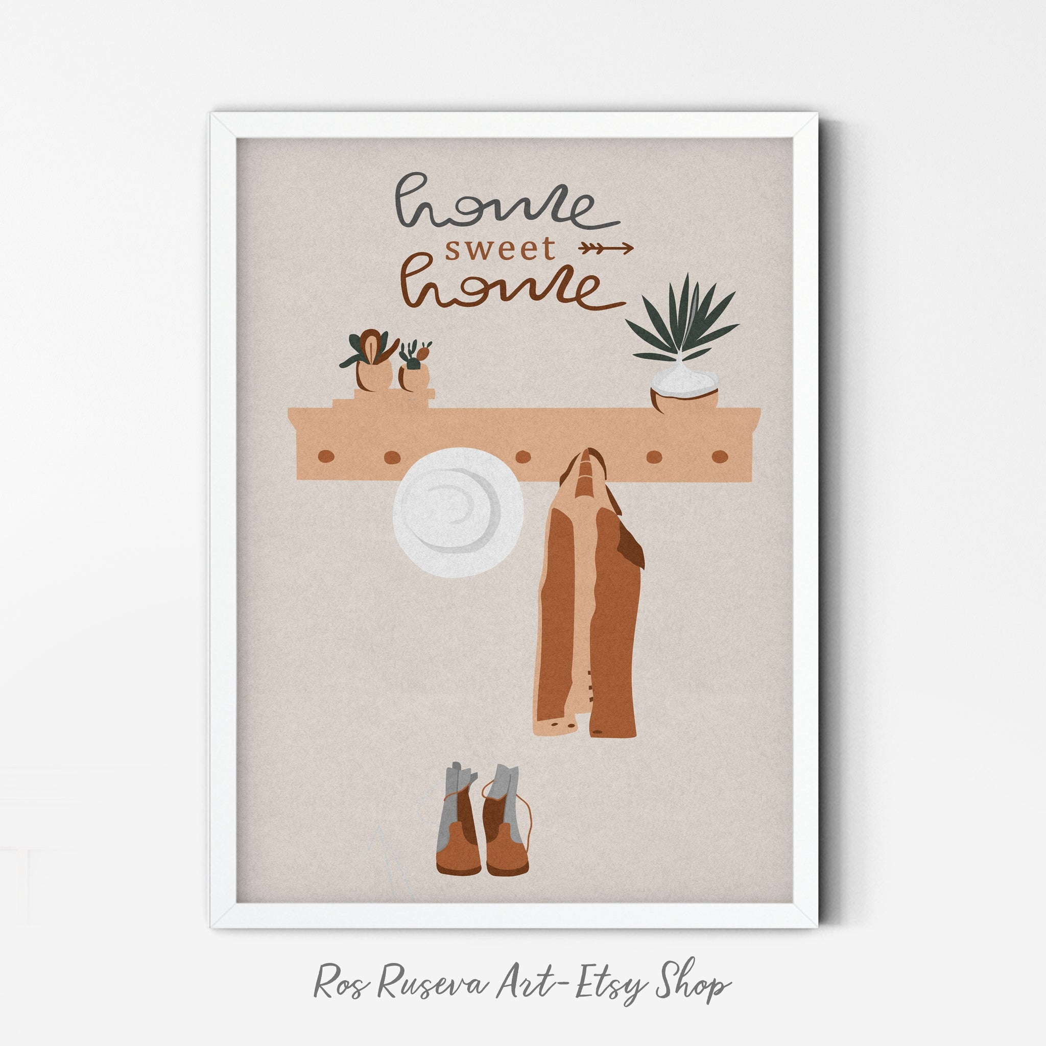 Home Sweet Home Print, Family Poster, Neutral Wall Art, Warm Color Palette, Minimalist Poster Print, Sweet Home Art, Boho Art - Ros Ruseva