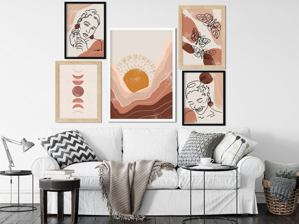 Abstract Butterfly Art Print | Neutral Wall Art | Warm Color Palette | Minimalist Poster Print | Butterfly Wall Art | Boho Art - Ros Ruseva