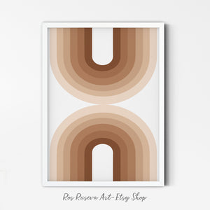 Terra Rainbow Art Print | Earth Tone Rainbow Poster | Boho Minimalist Wall Art | Rust Color Print | Minimal Earth Tone Art | Line Rainbow