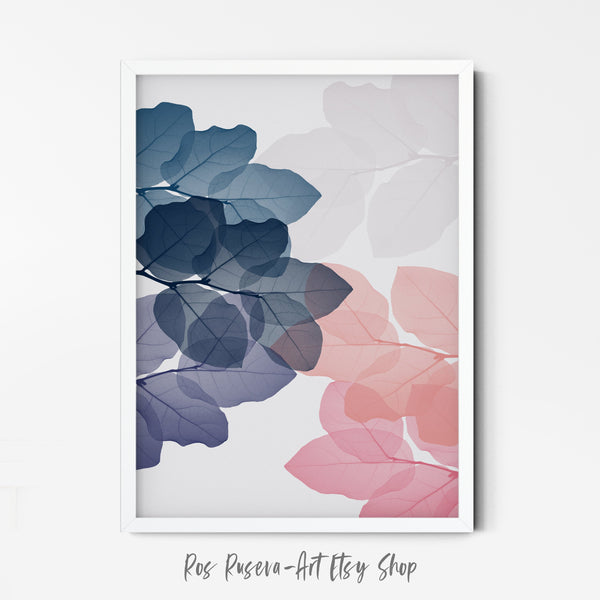 Plant Prints Pastel Abstract Art, Above Bed Wall Art, Modern Minimal Art, Tropical Wall Art, Leaf Poster, Pink and Blue - Ros Ruseva