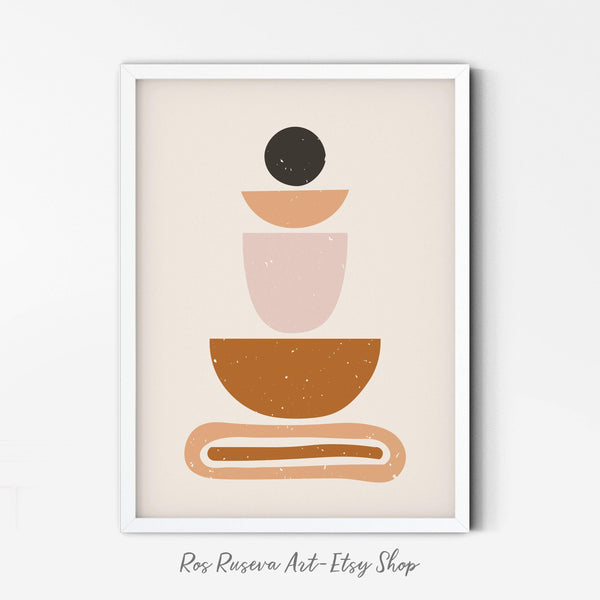 Abstract Minimal Print, Terra and Pink Colors, Minimalist Decor Poster, Boho Art, Instant Download, Modern Art, Geometric Shapes Poster - Ros Ruseva