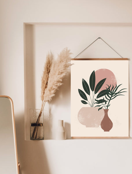 Plants In Pots Art Print | Blush Pink Poster | Pink Color Print | Brush Stroke Botanical Art | Digital Painting Plant | Paint Stroke Leaves